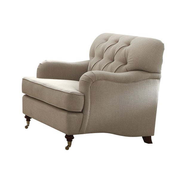Fabric Upholstered Chair with Button Tufted Back and Saddle Arms, Beige. Opens flyout.