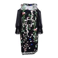JAX Women's Mesh Cold-Shoulder Dress - Black Multi