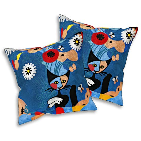 Handmade Embroidered Daydreaming Kitty Cat Pop Art Pillow Cover Set of 2 (Thailand)