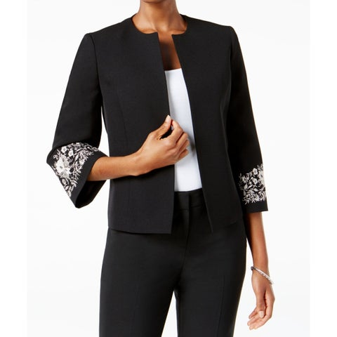 Kasper Black Silver Womens Size 14 Floral-Embroidered Jacket