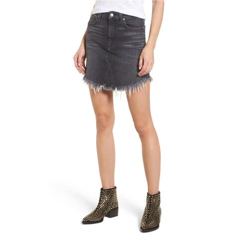 7 For All Mankind Womens Frayed Denim Skirt - 29