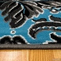 "Blue AllStar Modern. Contemporary Woven Area Rug. Drop-Stitch Weave Technique. Carved Effect. Vivid Pop Colors (5' x 6' 11"") - Thumbnail 5"