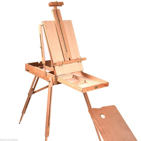 Costway French Easel Wooden Sketch Box Portable Folding Durable Artist Painters Tripod