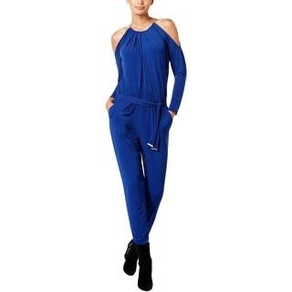 MICHAEL Michael Kors Womens Jumpsuit Printed Cold-Shoulder