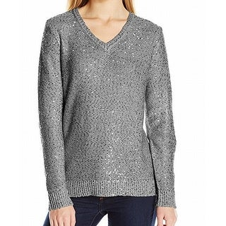 Jones New York NEW Silver Platinum Gray Sequin Knit XS V-Neck Sweater