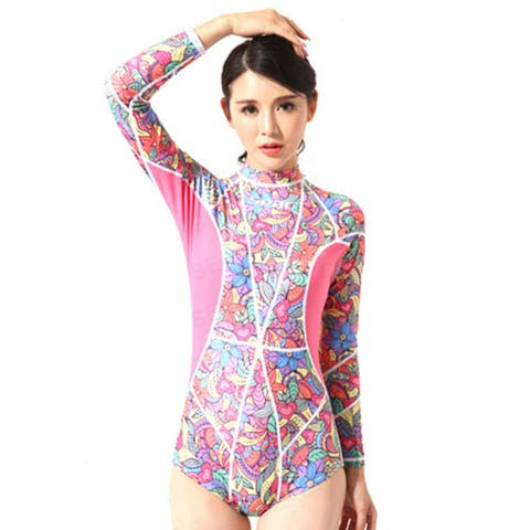 One-piece Diving Suit Wetsuit Surfing Swimming - Pink - M