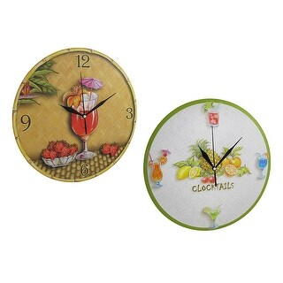 Pair of Tropical Drink Themed Wall Clocks