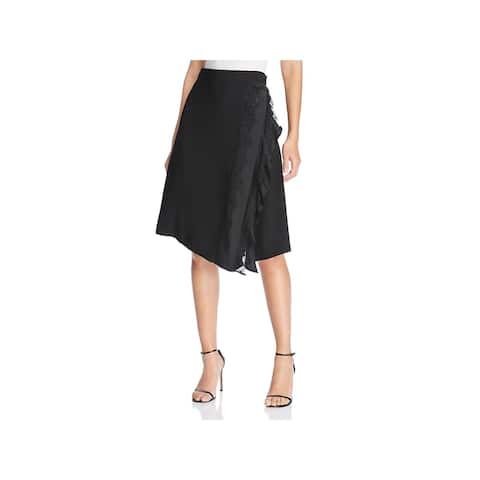 Donna Karan Womens A-Line Skirt Lace Trim Asymmetric