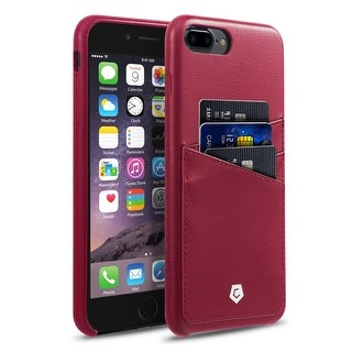 CobblePro Burgundy Leather with Wallet Flap Pouch For Apple iPhone 7 Plus