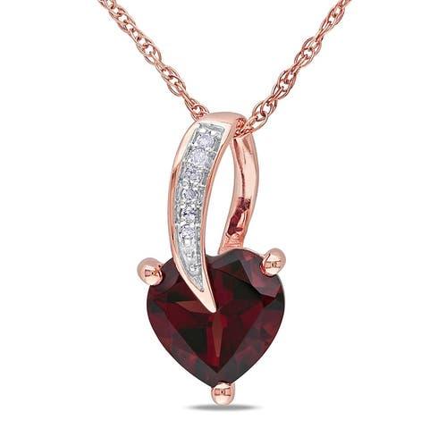 Miadora 10k Rose Gold Garnet and Diamond Accent Heart Necklace
