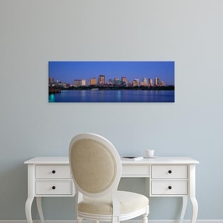 Easy Art Prints Panoramic Image 'Buildings at the waterfront lit up at night, Boston, Massachusetts, USA' Canvas Art