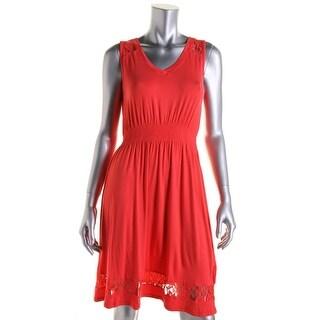 Spense Womens Petites Lace Trim Open Back Casual Dress - pm
