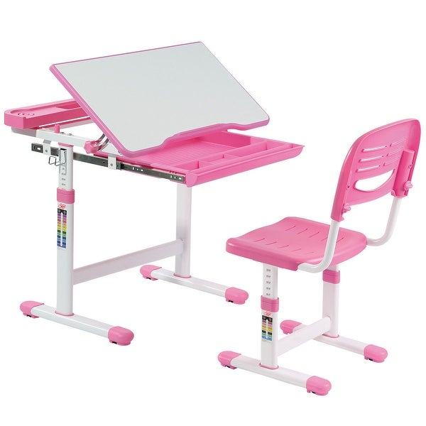Gymax Height Adjule Children X27 S Desk Chair Set Multifunctional Study Drawing Pink