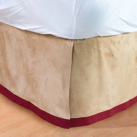 Tan Faux Suede and Red 14-inch Drop Bed Skirt