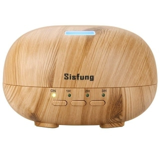 Essential Oil Diffuser - 300mL Ultra Quiet Wood Grain Aromatherapy Diffuser - Ultrasonic Cool Mist, 7 color LED (Yellow)