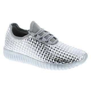 Cape Robbin Judo-1 Women Metallic Leatherette Quilted Lace Up Jogging Sneaker - Silver