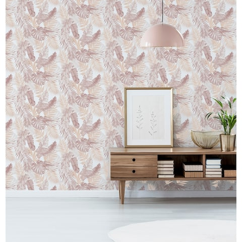 Arthouse Soft Tropical Blush and Gold Vinyl Wallpaper