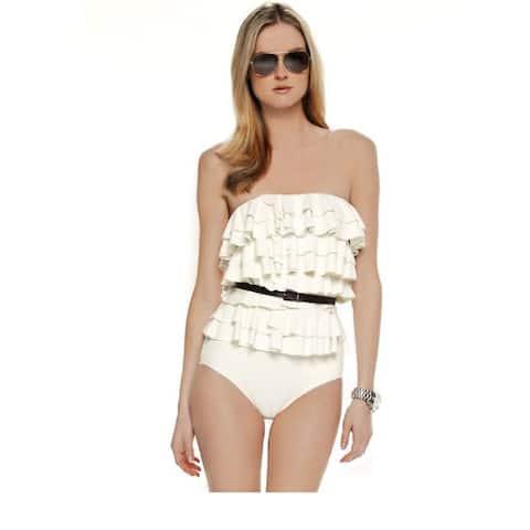 Michael Kors Women's Natural Cascading Tiered Ruffle Swimsuit,Cream, 6