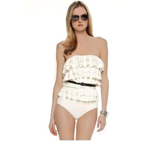 Michael Kors Women's Natural Cascading Tiered Ruffle Swimsuit (6)