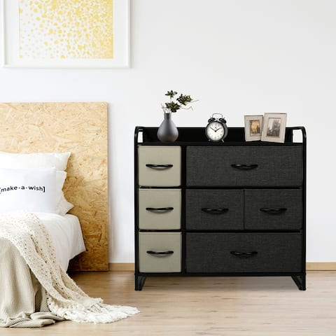 Kinbor Wide Drawer Dresser, Fabric Storage Tower with 7 Drawers, Organizer Unit for Bedroom, Hallway, Entryway, Closets