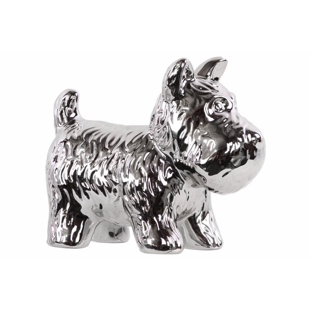 Ceramic Standing Welsh Terrier Dog Figurine, Polished Chrome Silver