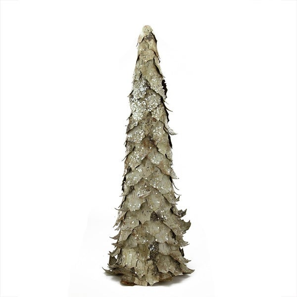 "24"" Country Cabin Sequined and Glittered Birch Leaf Christmas Cone Tree Decoration - Unlit"