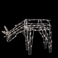 """25"""" Standing and Grazing Lighted Reindeer Outdoor Christmas Decoration - White"""