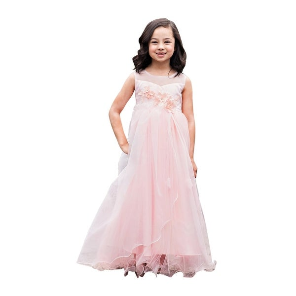 19757c30b31 Shop Girls Pink Illusion Neck Flowers Floor Length Junior Bridesmaid Dress  - Free Shipping Today - Overstock - 23077647