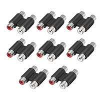RCA 2 Female to 2 Female Connector Stereo Audio Video Adapter Coupler Black 8Pcs