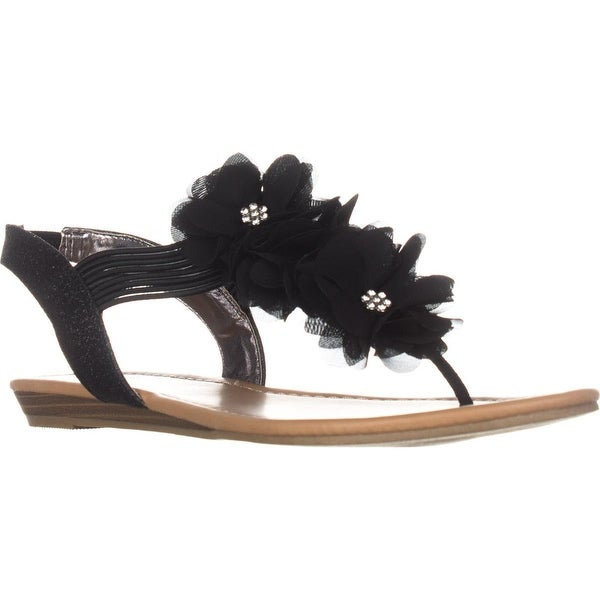 MG35 Sari Flower T-Strap Sandals, Black