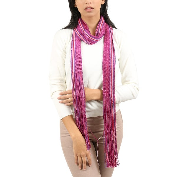 Missoni Fuschia/Red Striped Scarf - 14-72. Opens flyout.