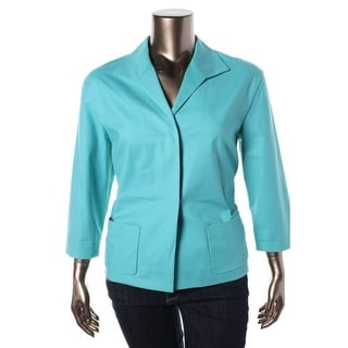 Lafayette 148 Womens 3/4 Sleeves Patch Pocket Two-Button Blazer - p