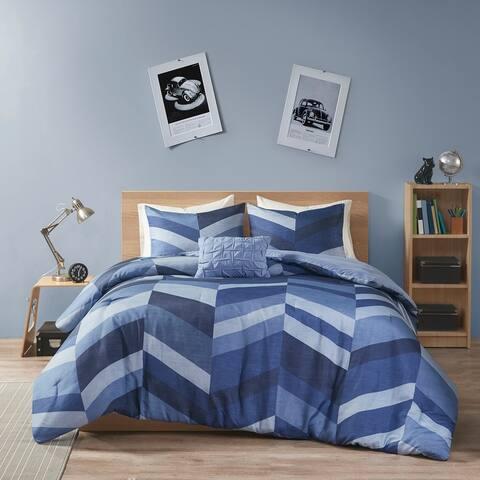 Damian Navy Chevron Printed Comforter Set by Intelligent Design