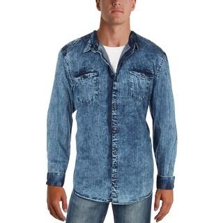 Shop Calvin Klein Jeans Mens Chill Indigo Button Down Shirt Denim