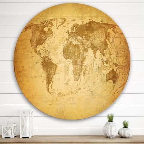 Designart 'Ancient Map of The World X' Vintage Metal Circle Wall Art