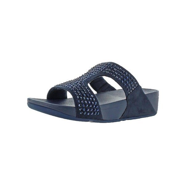 90b595896c45fb Fitflop Womens Glitzie Slide Slide Sandals Microfiber Slip on - 7 Medium  (B