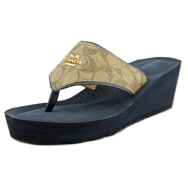 Coach Janice Open Toe Leather Wedge Sandal