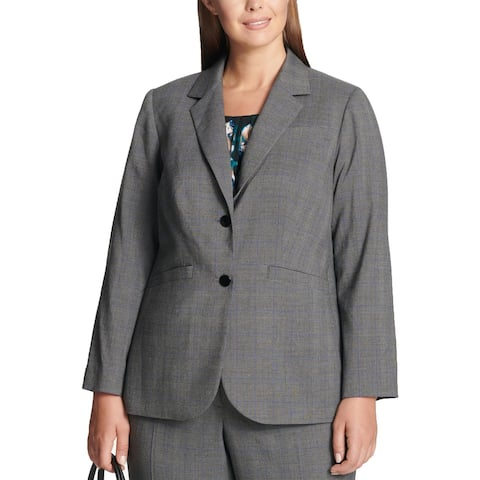 Calvin Klein Womens Plus Jacket Glen Plaid Suit Separate