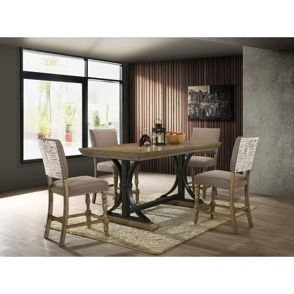 Birmingham 5 Piece Driftwood Finish Table With Nail Head Chairs Counter Height Dining Set Overstock 32358229