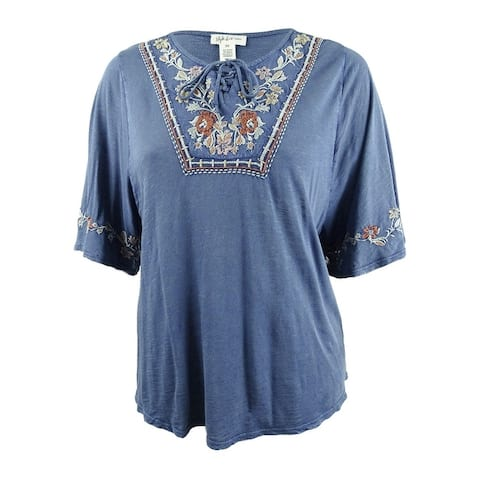 Style & Co. Women's Plus Size Lace-Up Embroidered Peasant Top - Western Blue