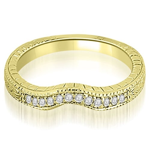 0.15 cttw. 14K Yellow Gold Antique Cathedral Round Curve Diamond Wedding Band