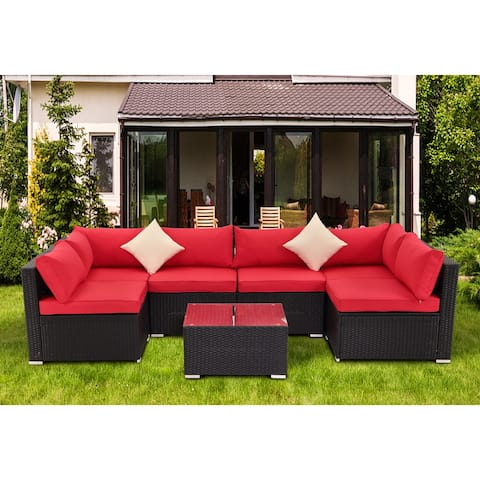 7-pc Rattan Sectional Seating Group w/ Cushions