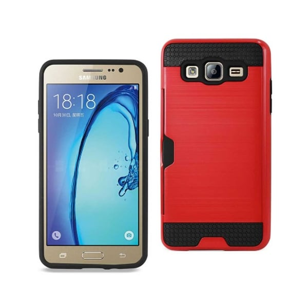 REIKO SAMSUNG GALAXY ON5/ J5 SLIM ARMOR HYBRID CASE WITH CARD HOLDER IN RED