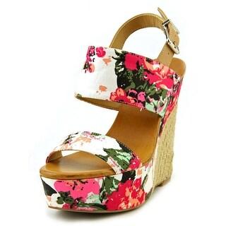 Jessica Simpson Anika Women Open Toe Canvas Pink Wedge Sandal