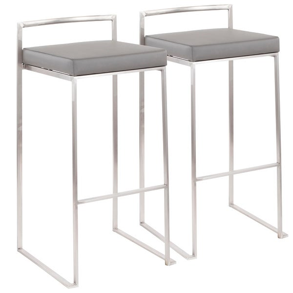 Fuji Contemporary Stackable Stainless Steel Low-Profile Back Bar Stool (Set of 2) - N/A. Opens flyout.