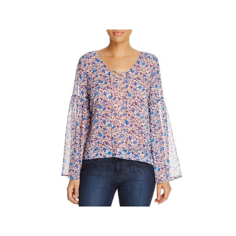 Sanctuary Womens Lila Casual Top Chiffon Lace-Up