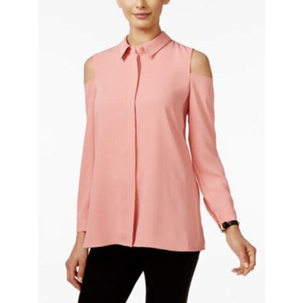 2abbab12fc0b8 Alfani Petite Cold-Shoulder Womens Blouse, Pink, Size 12P