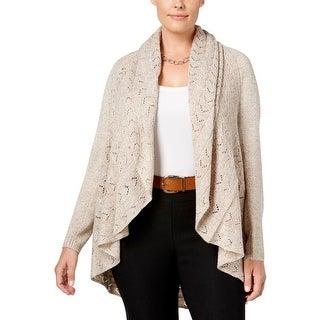 Karen Scott Womens Plus Cardigan Top Open Front Shawl