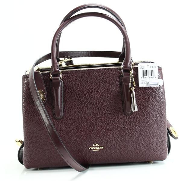 e3121341d1e Coach NEW Red Brooklyn Carryall 34 Satchel Pebble Leather Handbag Purse