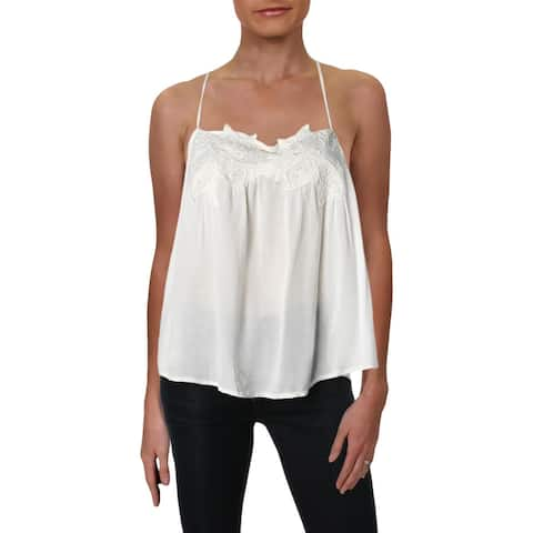 Roxy Womens Sun Hoops Tank Top Embroidered Sheer